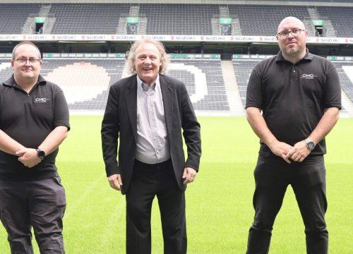 John Cove, MK Dons Club Director - Simon Wright, Pete Winkelman, Phil Glenister, Andy Wooldridge at MK Dons Stadium