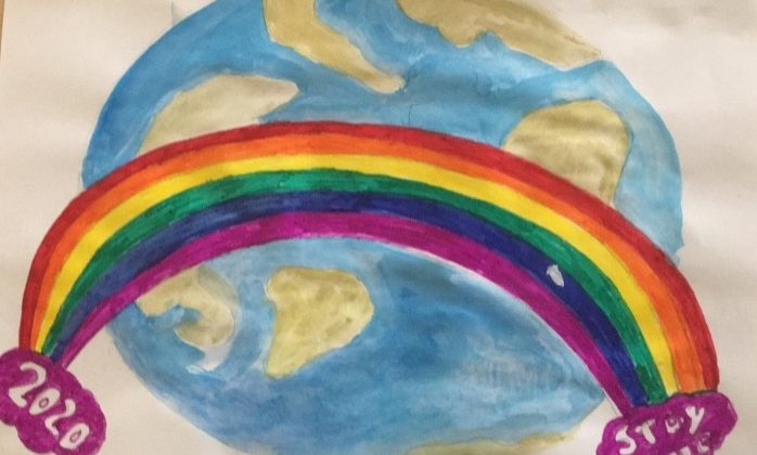 Drawing of the world with rainbow, MK ACT charity