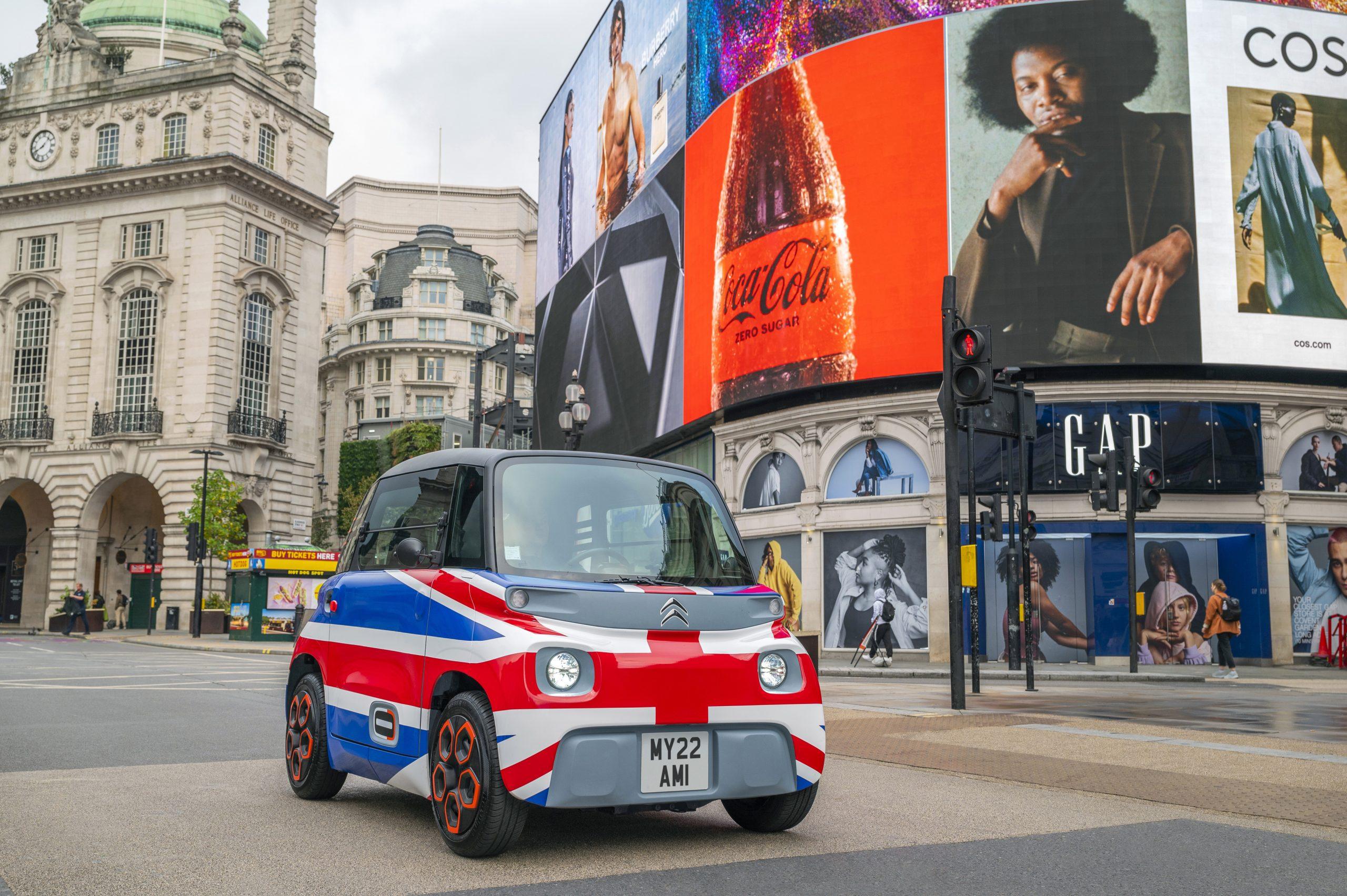 citroen small kei car london electric main street billboards